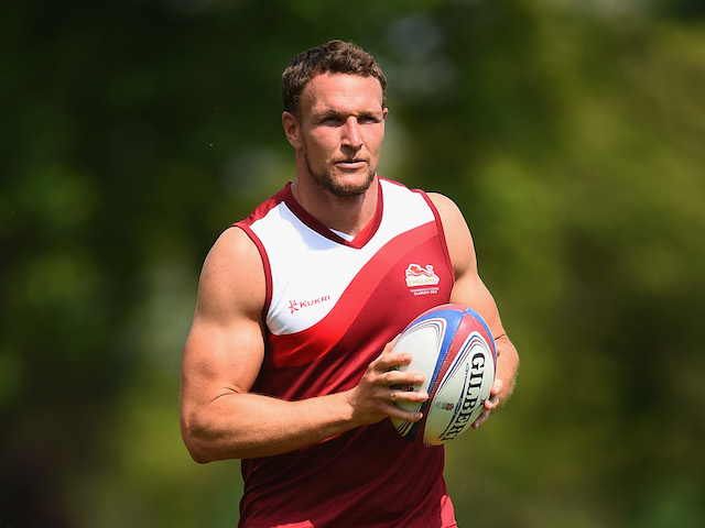 Tom Powell in action during the England Sevens Squad Announcement for the Commonwealth Games on July 9, 2014 in London, England