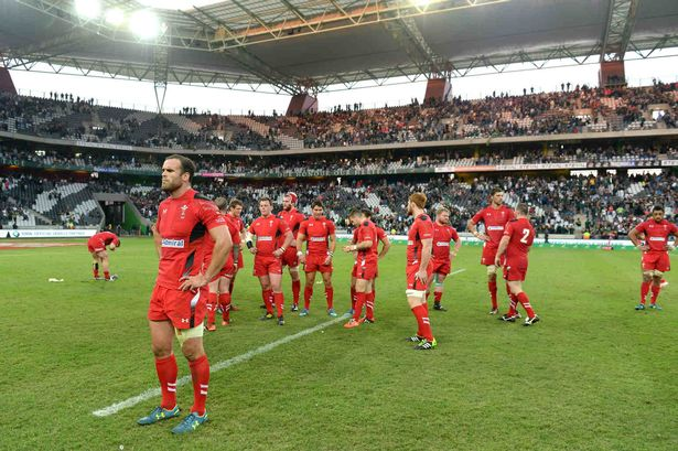 Jamie Roberts of Wales looks morose during a finish of a game