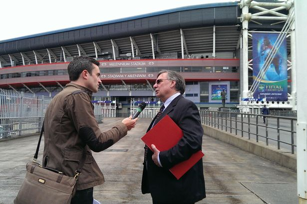 David Moffett speaks to a reporter outside the Millennium Stadium
