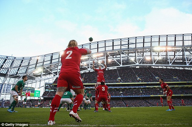 High jump: Wales harlot Richard Hibbard throws to Andrew Coombs during a lineout in a Aviva Stadium