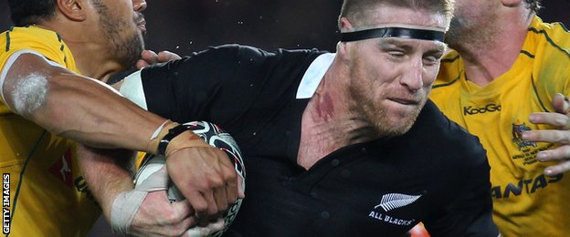 Brad Thorn on the charge for the All Blacks against Australia