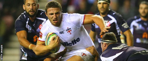 Sam Burgess in action for England against France at the 2013 Rugby League World Cup