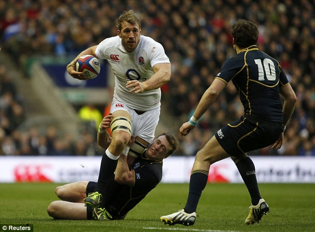 English dominance: Robshaw helped his England side kick Scotland 38-18 during Twickenham in final year's Six Nations
