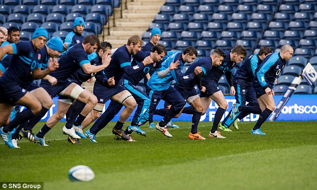 Pitching in: The England group sight during Murrayfield brazen of their strife with Scotland on Saturday as partial of a Captain's Run
