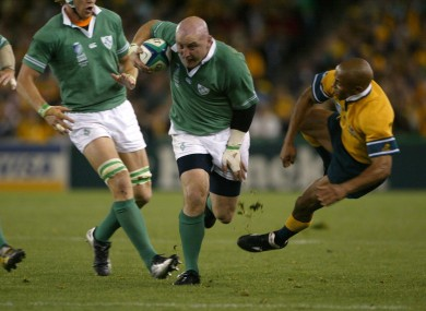 Keith Wood skittles George Gregan in a 2003 World Cup.